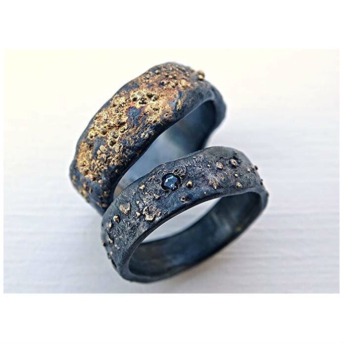 Matching His And Hers Black Sterling Silver And 14k Gold Viking