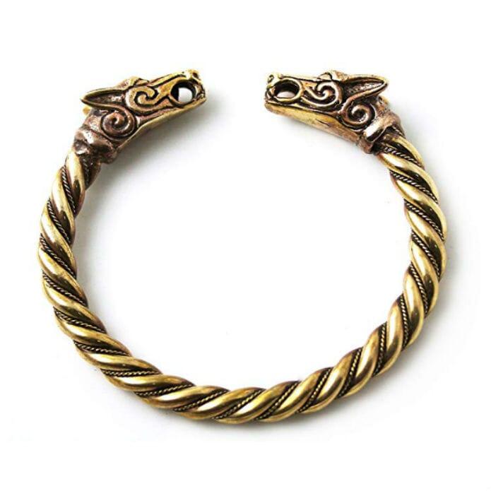 Bronze Fenrir Wolf Head Armband by LynnAround11