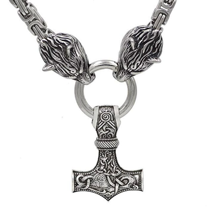 Handmade Thor Hammer with Wolf Heads Pendant Necklace