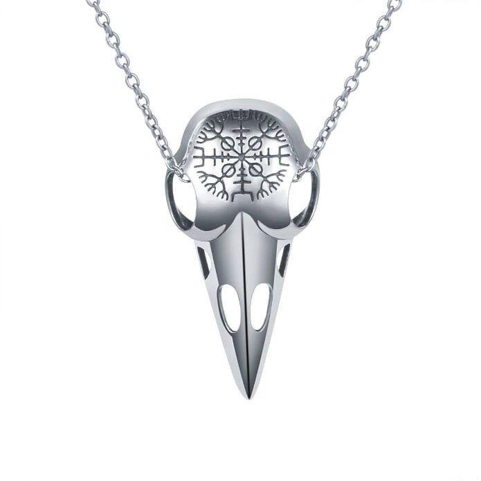 Raven Skull Viking Pendant Necklace by Ladytree