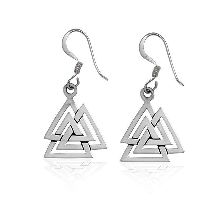 Sterling Silver Valknut Viking Dangle Earrings