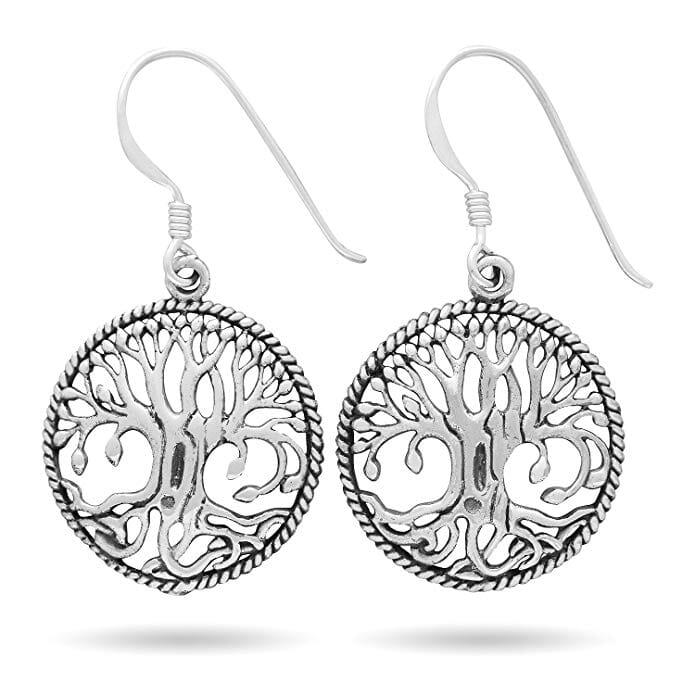 Yggdrasil Tree of Life Viking Dangle Sterling Silver Earring Set